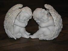 Twin Cherubs Display Piece Silver Glitter Wings, 13cm ~ Omni New Age