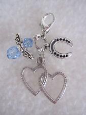 Something Blue Bride / Bridal Wedding Charm - Good Luck Gift - Angel & Horseshoe