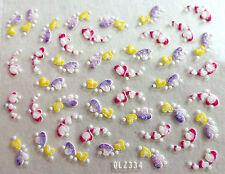 Accessoire ongles : nail art - Stickers autocollants - coeurs multicolores