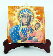 Our Lady of Częstochowa Ceramic Tile from Italy Black Madonna Virgin Mary Icon