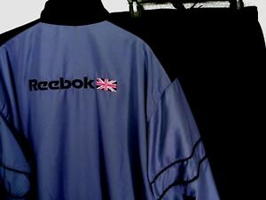 Reebok Warm Up Track Suit Men L Windbreaker Jacket Pants British Flag Spell Out
