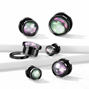 Pair Multi Color Shell Black PVD 316L Surgical Steel Screw Fit Flesh Tunnel Plug