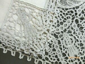 Antique FIGURAL ITALIAN Needlelace PLACEMAT Set ECRU LINEN and LACE 25 Pieces