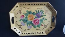 VTG TOLEWARE METAL HAND PAINTED TRAY Reticulated cut out edges Yellow Gold Roses