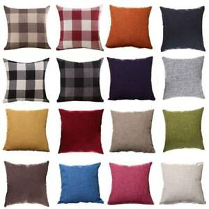 Plain/Plaid Waist Pillow Case Throw Cushion Cover Sofa Car Pillowcase Home Decor