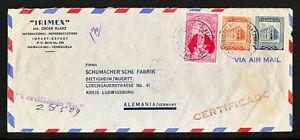 VENEZUELA 0433 AIR MAIL COVER 1951 certificado Maracaibo to Germany Bietigheim w