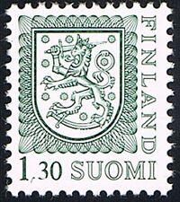 FINLANDIA SUOMI 1 FRANCOBOLLO LEONE RAMPANTE GRIGIO VERDE 1985 nuovo**