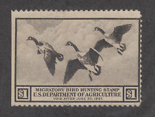 US Sc RW3 used 1936 $1 Canada Geese, Duck Stamp