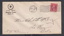 USA 1920 SHENANGO HOUSE HOTEL COVER SHARON PENNSYLVANIA TO LEROY OHIO