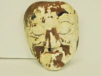 Primitive Folk Art Hand Carved Chippy Paint Wood Man Tribal Big Chin Face Mask