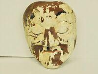 Primitive Folk Art Hand Carved Chippy Paint Wood Man Tribal Big Chin Face Mask