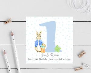 Personalised Peter Rabbit 1st Birthday Card - Son, Grandson, Nephew, christening