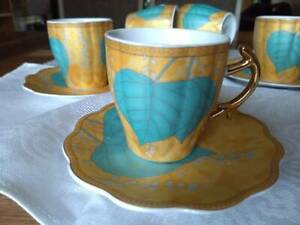 Fine China Tea/Coffee Cups and Saucers - Set of 6 - Floral Design Gold and Teal