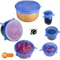 6 pcs Couvercle universel silicone extensible sans bpa pour casserole plat bol