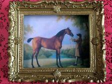 Ornato d'Oro Foto Incorniciata un cavallo, doll House Miniatura, Scala 1.12th