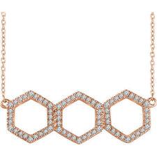 Diamante Geométrico 40,6 -45 , 7cm Collar en 14k oro rosa ( 1/4 Ct. TW