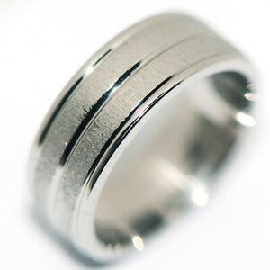 Sparkling Silver Stainless Steel Mens Ring Band Ring Man Jewelry Punk Size 9