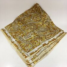 "VTG Scarf 26"" Square Acetate Japan Yellow Brown Kerchief EUC"