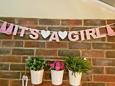It's A Girl Bunting Banner baby shower Welcome Home new Baby Girl decoration