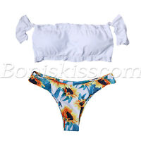 2pcs Women's High Waisted Floral Bikini Set Off Shoulder Ruffle Padded Swimsuit