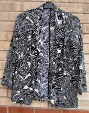 PRIMARK WHITE BLACK LEAVES PRINT LONG SLEEVE SUMMER BLAZER COAT KIMONO 10 S