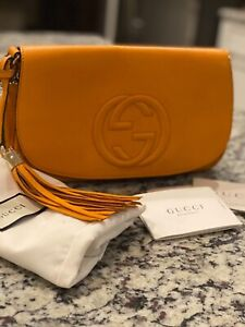 "gucci soho handbag authentic  mustard color 11""L x 3.5""w 6.75""H"