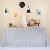 """60""""x102"""" Silver Sequin Tablecloth Sparkly Wedding PatyTable Cloth Cover Banquet"""
