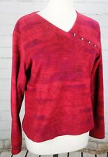 ROYAL ROBBINS Fleece Top Pullover Wrap Front Women's S Long Sleeve Red Shirt