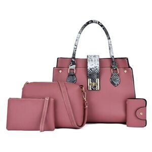 4PCS Women's Bag Set Fashion PU Leather Ladies Handbag Shoulder Bag Wallet Bags