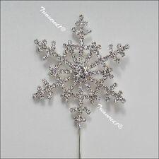 Delicate Snowflake Cake Pick Silver Metal Topper Rhinestone Diamante GEMS FROZEN