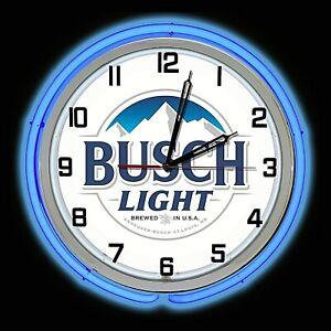 """19"""" BUSCH Light Beer Sign Blue Double Neon Wall Clock Garage Man Cave"""