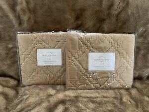 2 Pottery Barn Washed velvet Standard shams quilted camel New with tag