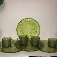 vintage soreno avocado green 8 pcs anchor hocking lunch plates & cups snack set