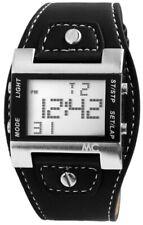 MC Timetrend Germany Herrenuhr Schwarz Silber Digital Datum Kunst-Leder X-30337