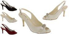 Satin Patternless Standard Width (B) Formal Heels for Women
