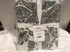 Pottery Barn 100% Cotton Susanna Full/Queen Duvet-White/Green/Blue/Black