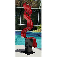 Modern Abstract Red Metal Art Garden Sculpture Home Decor - Red Transitions