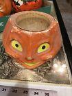 Vintage Paper Mache Jack O Lantern With Insert Halloween Pumpkin Large
