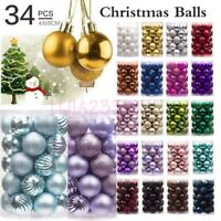 34PC 40mm Multicolor Christmas Tree Balls Small Bauble Hanging Home Party Decor