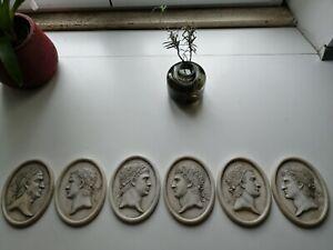 Six Carrara Marble Reliefs  Portraits Emperors Grand Tour XIX Pietra Dura