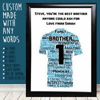 Personalised Brother Football Shirt Word Art Big Birthday Card Gifts Presents