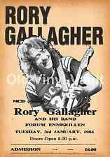 Rory Gallagher concert poster Enniskillen Forum 1984 New A3 size repro