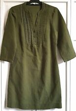 Boden Green Dress US 4 R UK 8 R Cotton & Linen Laura Pleated Bodice 3/4 Sleeve