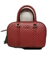 Authentic Gucci MicroGG 510286 Red Medium Leather Crossbody Bag