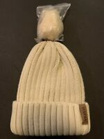 FURTALK Womens Winter Knitted Beanie Hat with Faux Fur Pom (One Size|04-beige)