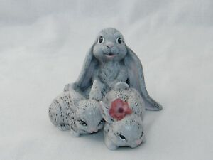 Cute Gray Hand Painted Porcelain Bunny Rabbit Figurines of Choice