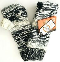 Screamer Womens Hand Knit Fingerless Gloves Coal ivory gray One Size New