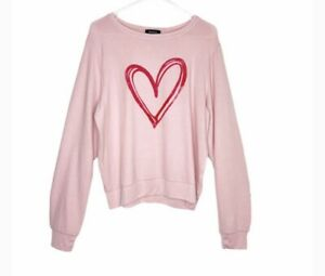 Wildfox Sketchy Heart Pullover & Jogger Set Pink Size XL