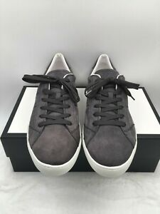 Tods Men's Low Top Sneaker Casual Shoes Suede Grey White Lace up Size 11 US
