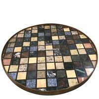 Black Marble Round Coffee Dining Table Top Mosaic Cubes Inlay Art Decorate H3834
